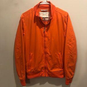 Zara man denim couture bomber jacket orange